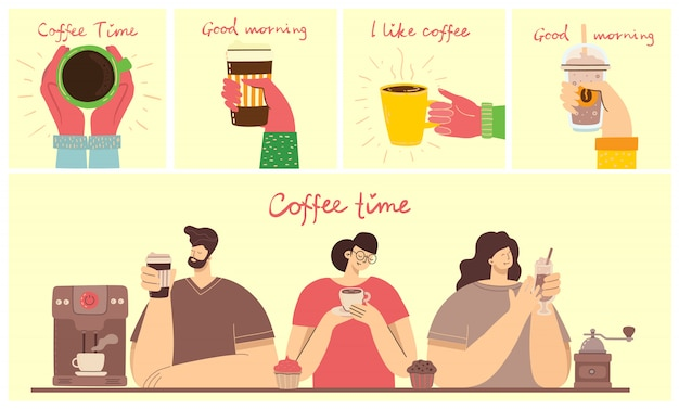 Smiling people friend drinking coffee and talking. coffee time, break and relaxation concept cards. Premium Vector