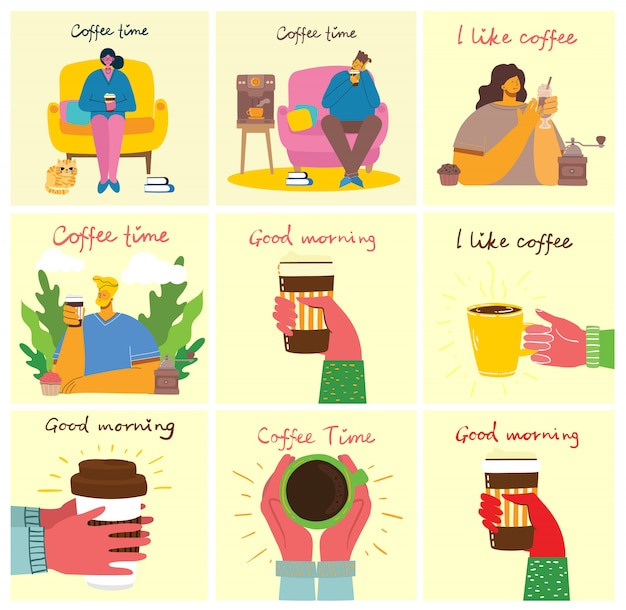 Smiling people friend drinking coffee and talking. Premium Vector