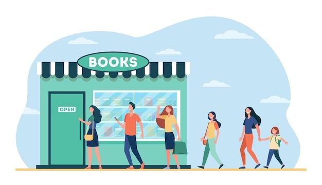 Улыбающиеся люди, стоящие в очереди в книжный магазин. Бесплатные векторы