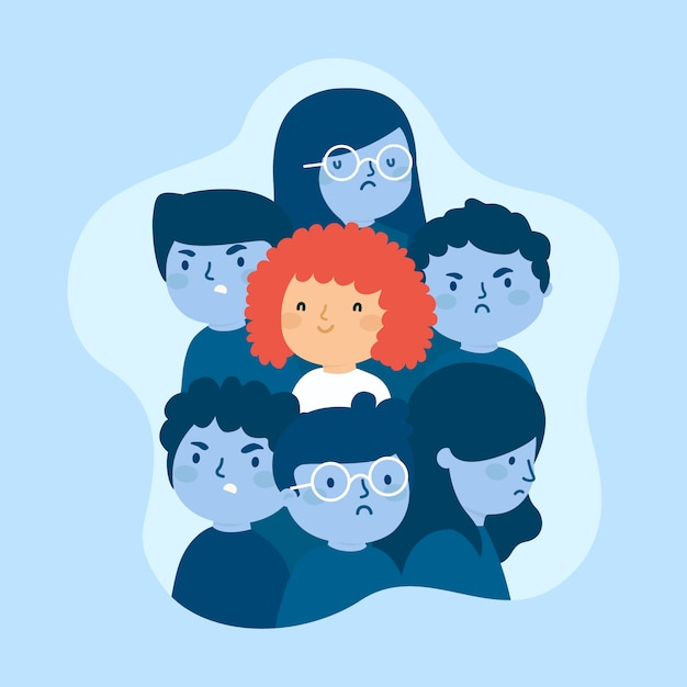 Smiling person in crowd concept Free Vector