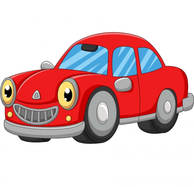 Smiling red car cartoon on white Premium Vector
