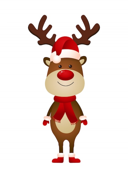 Smiling reindeer wearing santa hat and scarf illustration Free Vector