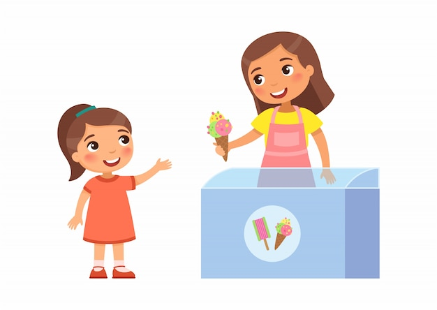 Smiling seller young woman gives little girl ice cream. joyful child, summer vacation. pocket money concept for kids. cartoon characters. flat illustration. Free Vector