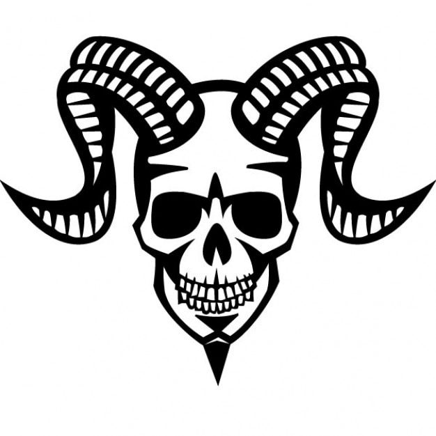 Smiling Skull With Ram Horns Vector Free Download