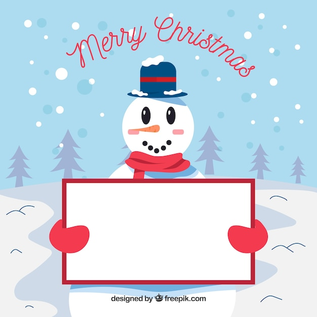 Smiling snowman background with poster