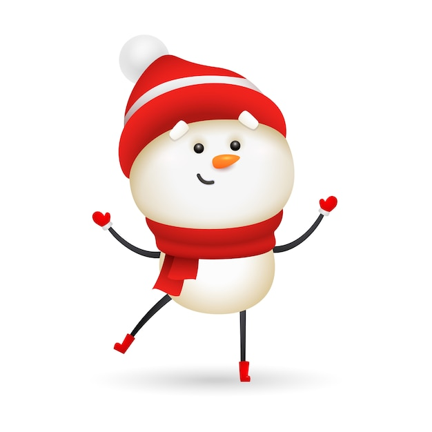 Smiling snowman wearing red knit hat and scarf Free Vector