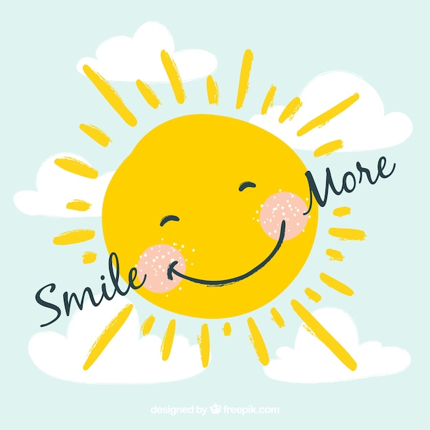 Smiling sun background Free Vector