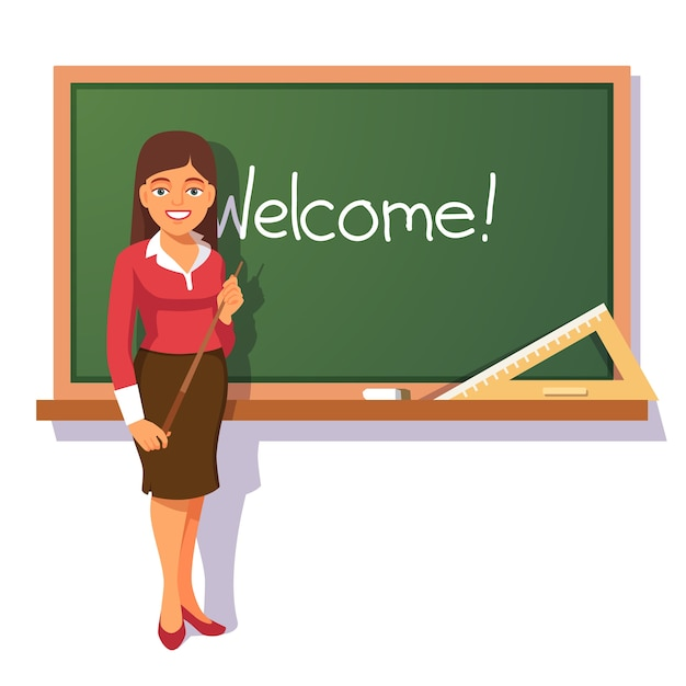 Smiling teacher welcoming students Free Vector