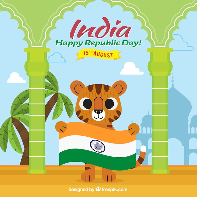 Smiling tiger with flag for indian republic day