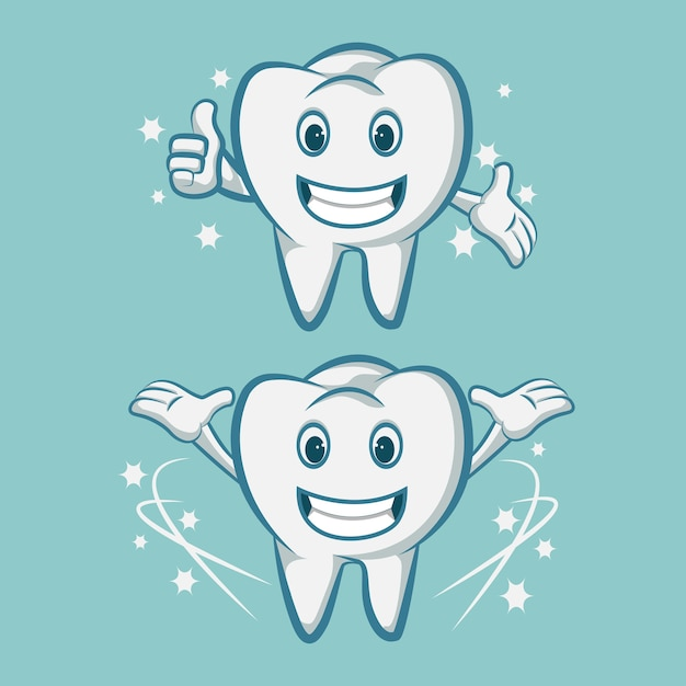 Smiling tooth mascot teeth with a toothbrush Premium Vector