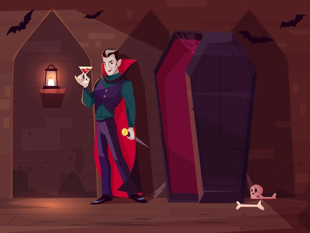 Smiling vampire, count dracula standing with glass of blood near opened coffin in dark dungeon Free Vector