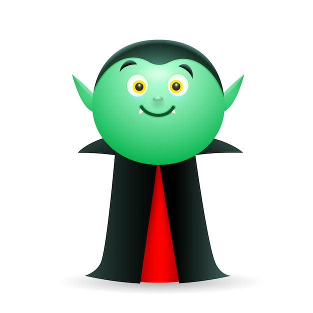 Smiling vampire wearing cape Free Vector