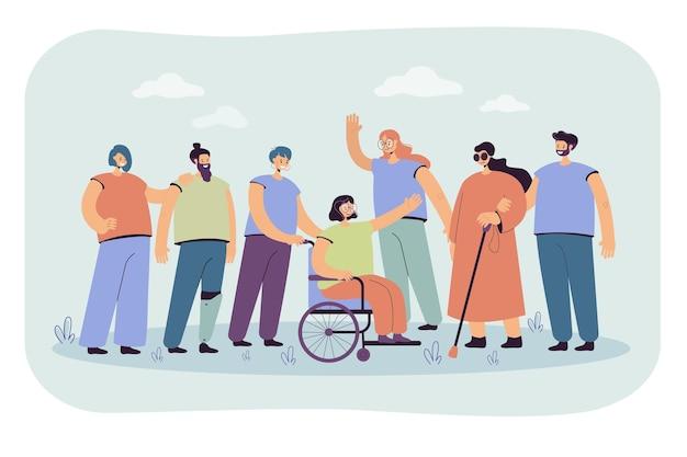 Улыбающиеся волонтеры, помогающие инвалидам, изолировали плоскую иллюстрацию. иллюстрации шаржа Бесплатные векторы