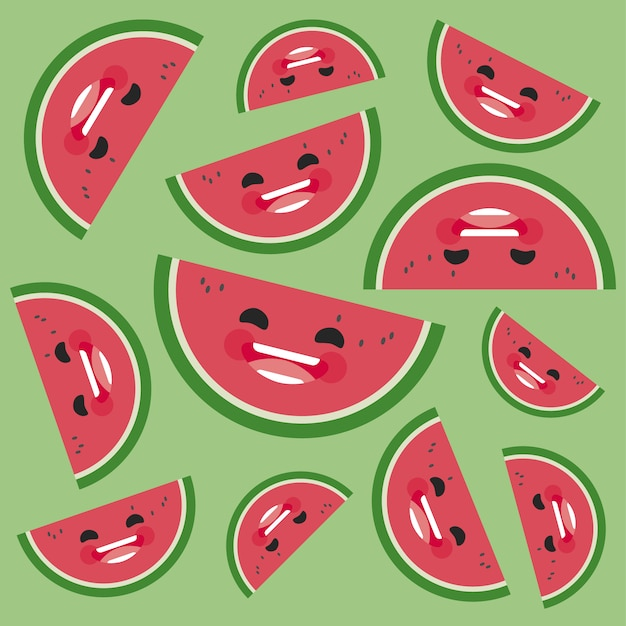 Smiling watermelon background Free Vector