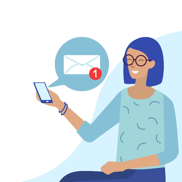 Smiling woman in glasses receives email on phone Premium Vector