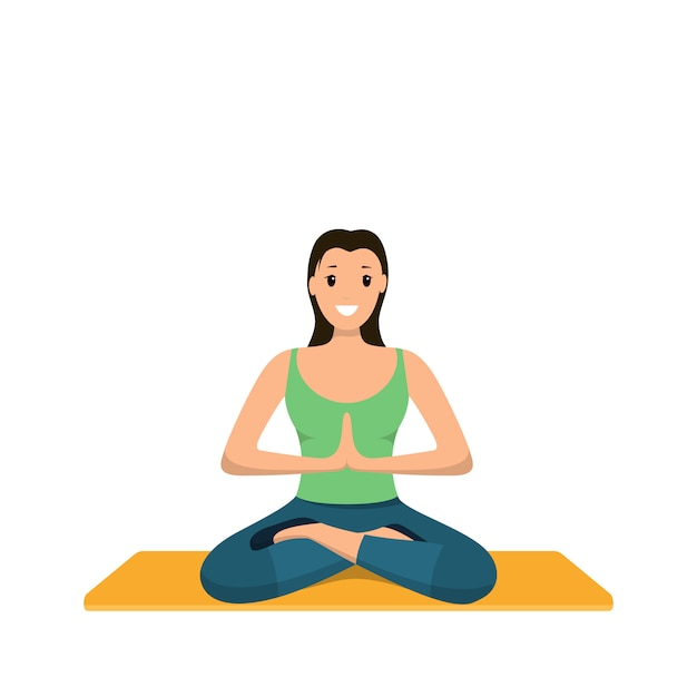 Smiling woman sits lotus position involved sport Premium Vector