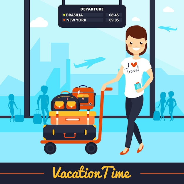 Smiling woman with luggage illustration Free Vector