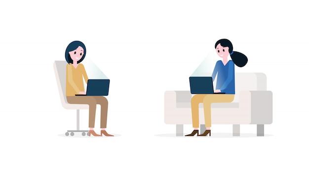 Smiling women with modern laptops Premium Vector