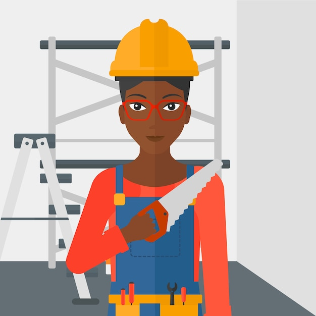 Smiling worker with saw. Premium Vector