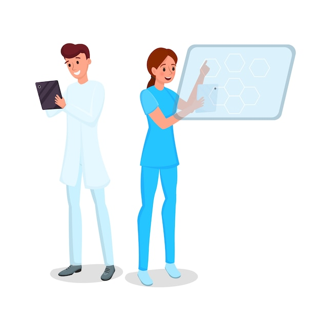 Wondrous Smiling Young Doctor And Nurse With Tablets Characters Home Interior And Landscaping Ologienasavecom