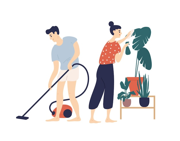 Premium Vector Smiling Young Man And Woman Cleaning House Together Boy Vacuuming Floor At Home And Girl Taking Care Of Plant Everyday Activity Of Cute Funny Romantic Couple