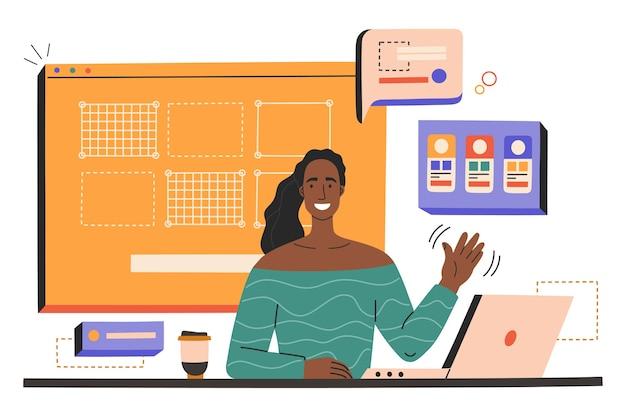노트북과 웃는 젊은 여성이 직장에서 웹 디자인을 만들 프리미엄 벡터