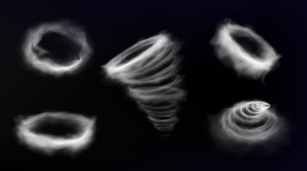 Smoke circle, wind storm vortex, smog cloud round frame, tornado swirl Free Vector