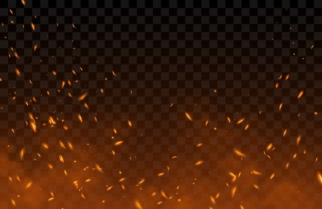 Smoke, flying up sparks and fire particles Free Vector