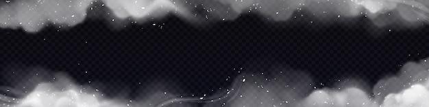 연기 프레임, 흰색 스모그 구름과 투명에 고립 된 입자와 가로 테두리 무료 벡터