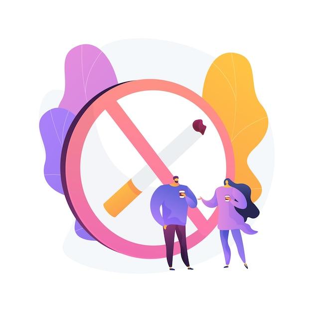 煙のないゾーンの標識。禁煙エリア、公共スペースの禁止、警告記号。煙のない場所でコーヒーを飲む人。タバコは通知を禁止しました。 無料ベクター