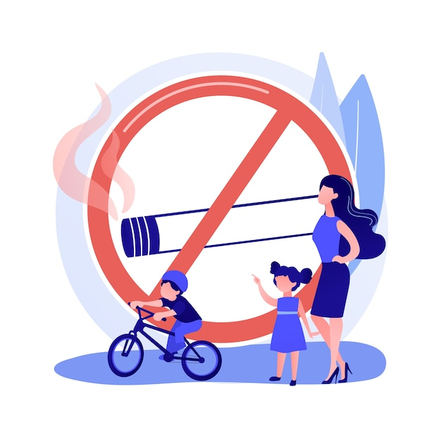 Smoke free zone sign. no smoking area, public space prohibition, warning symbol. people drinking coffee in smoke free location. cigarette banned notice. vector isolated concept metaphor illustration Free Vector