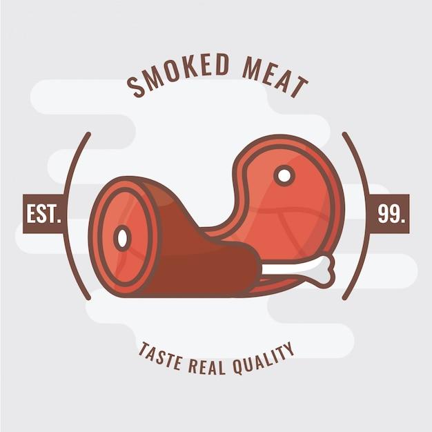 Smoked ham logo badge Premium Vector