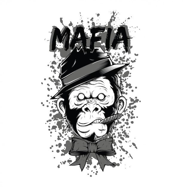Smoker mafia monkey black and white illustration Premium Vector