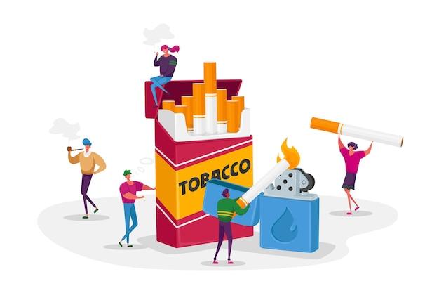 Курильщики и концепция зависимости от курения Premium векторы