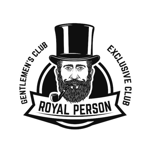 喫煙者クラブ。喫煙パイプ付き紳士の頭。ロゴ、ラベル、エンブレム、記号、バッジの要素。図 Premiumベクター