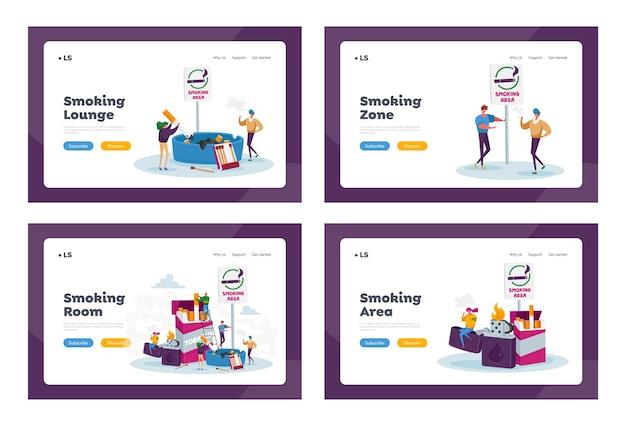 Курильщики в наборе шаблонов целевой страницы для курения. крошечные люди курят возле огромной коробки для сигарет и зажигалки в общественном месте Premium векторы