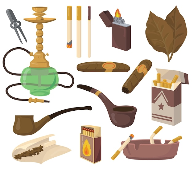 Set di accessori per fumatori. foglie di tabacco, sigarette, narghilè, sigari, pipa, posacenere isolato su priorità bassa bianca. raccolta di illustrazioni vettoriali per droga, dipendenza da nicotina, concetto di abitudine dannosa Vettore gratuito