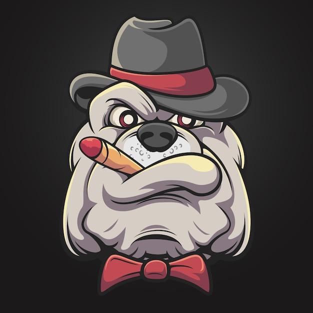 Smoking bulldog Premium Vector