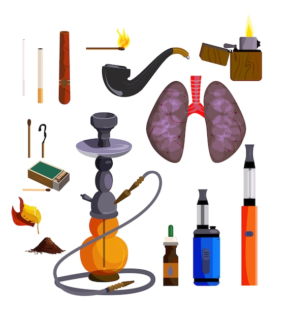Smoking devices icons set Free Vector
