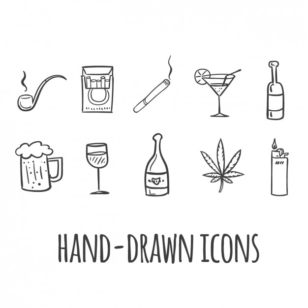 Smoking and drinking icons Free Vector