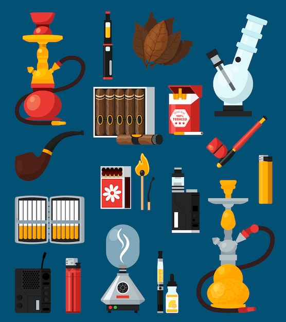 Smoking flat colored icons set Free Vector