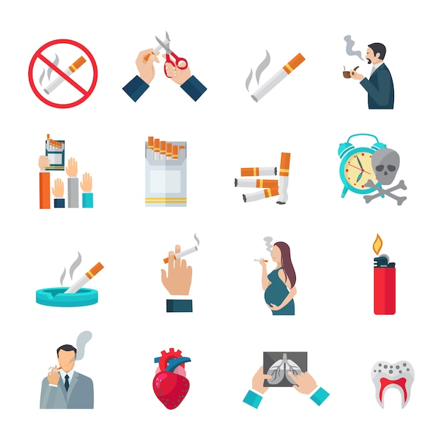 Smoking flat icons set Free Vector
