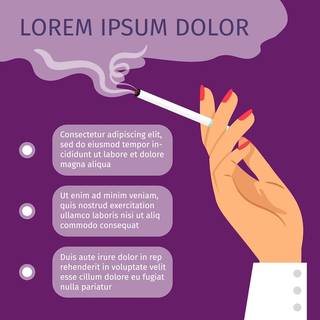 Smoking girl hand with cigarette Premium Vector