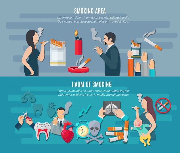 Smoking horizontal banner set with addiction hazard elements Free Vector