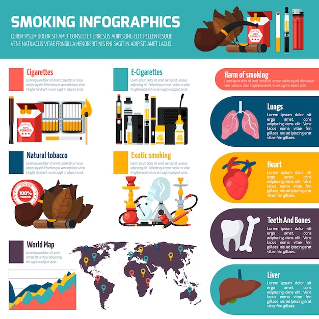 Smoking infographics flat template Free Vector