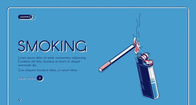 Atterraggio isometrico di fumo, sigaretta e accendino Vettore gratuito