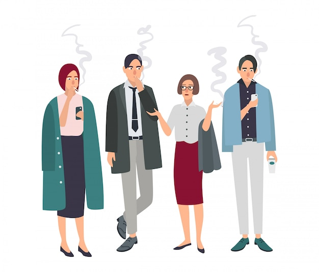 Smoking room. different office people on smoke break. man and woman with cigarettes. illustration in flat style. Premium Vector