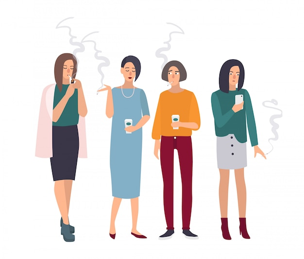Smoking room. girls on smoke break. woman with cigarettes. illustration in flat style. Premium Vector