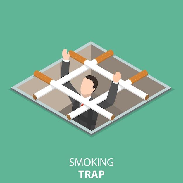 Smoking trap flat isometric concept. Premium Vector