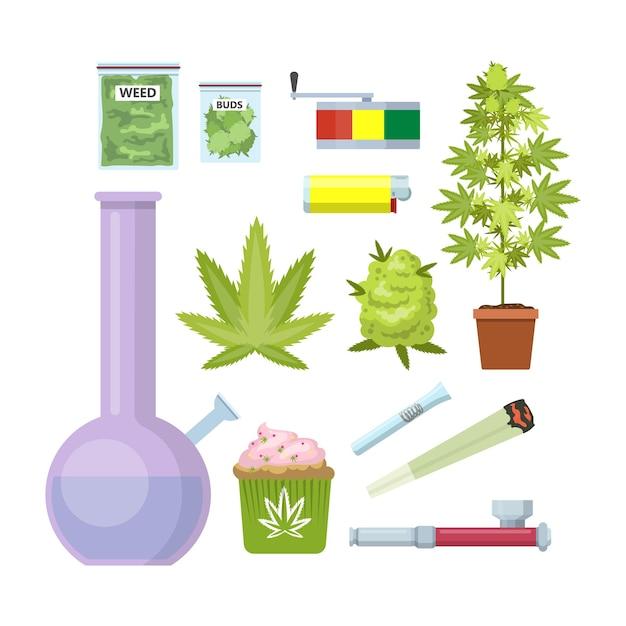 雑草設備を喫煙します。ボン、マリファナ、パイプなど。美しいアイコンを設定します。図 Premiumベクター